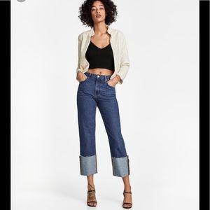 Zara Woman Folded Up Straight Malibu Jeans NWT